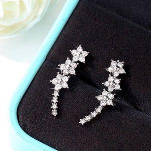 Jewelry - Silver & Crystal Flower Ear Crawler Studs